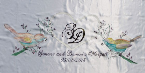 "Wedding Banner Acrylic on Satin  4'-6"" x 2'-4"""